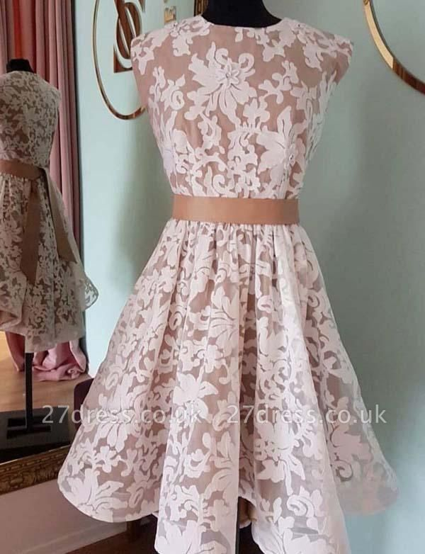 Gorgeous Jewel A-Line Lace Cap Sleeves Mini length Prom Dress UK UK