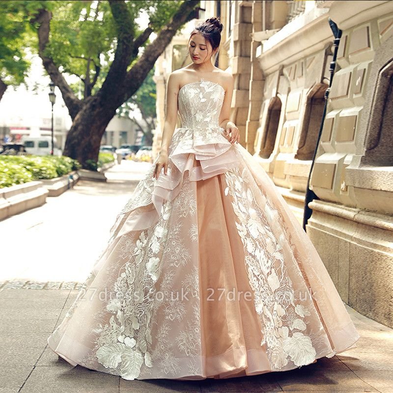 Applique Organza Strapless Ball Gown Sweep Train Prom Dress UK UK