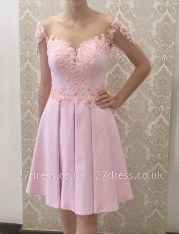 Gorgeous A-Line Appliques Short Sleeves Knee-Length Prom Dress UK UK