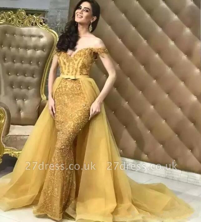 Luxury Off-the-Shoulder Tulle trumpt Sequins Long Prom Dress UK UKes