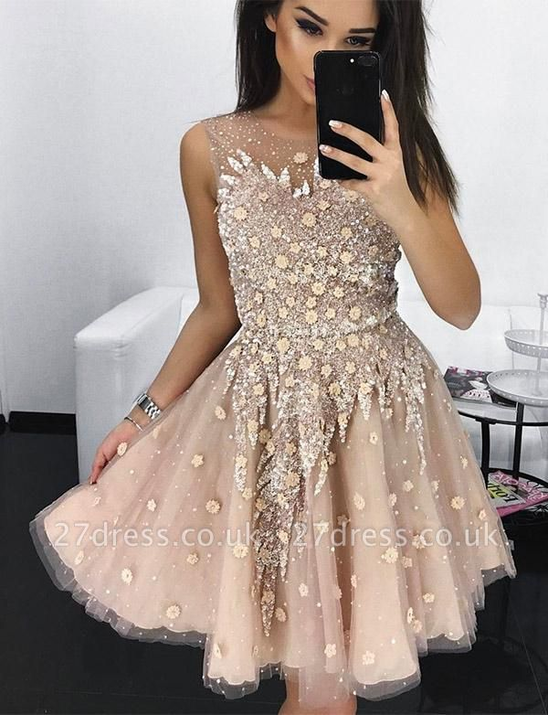 Different A-Line Appliques Jewel Tulle Sleeveless Homecoming Dress UK