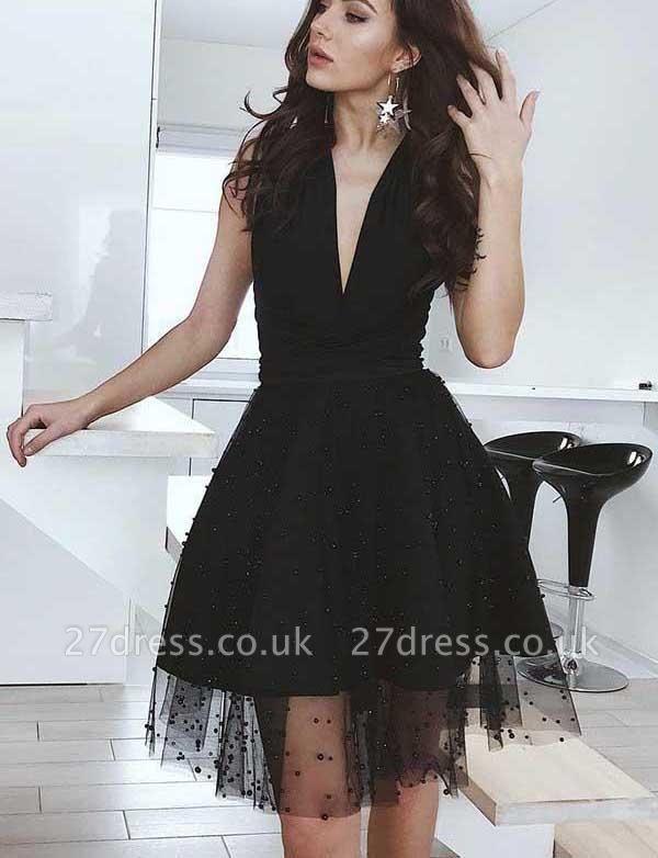 Glamourous A-Line Beads V-Neck Tulle Sleeveless Mini length Prom Dress UK UK