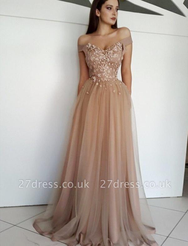 Charming Appliques A-Line Tulle Off-the-Shoulder Long Evening Dress UK