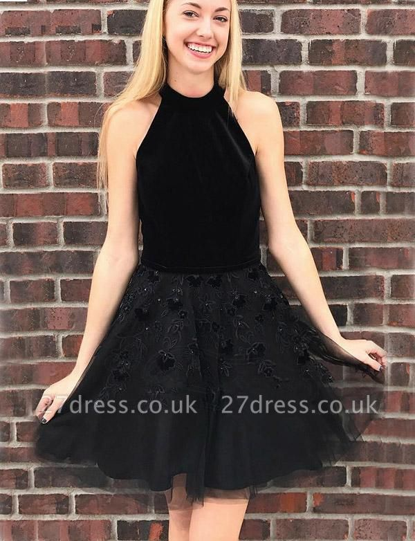 Different A-Line Appliques Halter Tulle Mini length Homecoming Dress UK