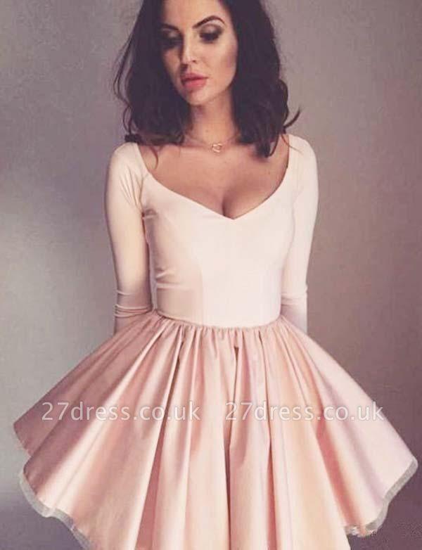 Trendy A-Line Long Sleeves V-Neck Mini length Homecoming Dress UK
