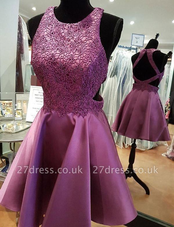 Sexy A-Line Appliques Jewel Lace Sleeveless Mini length Homecoming Dress UK