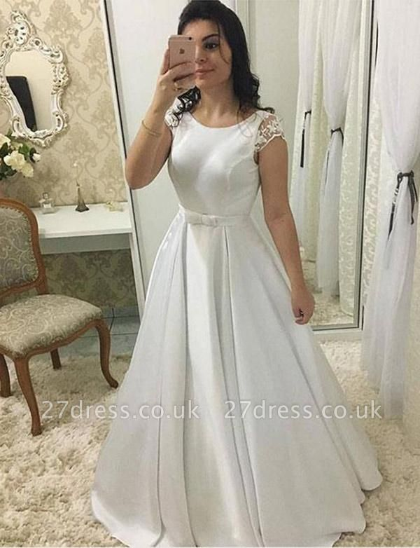 Luxury Round Neck Cap Sleeves A-Line Long Prom Dress UK UK with Lace