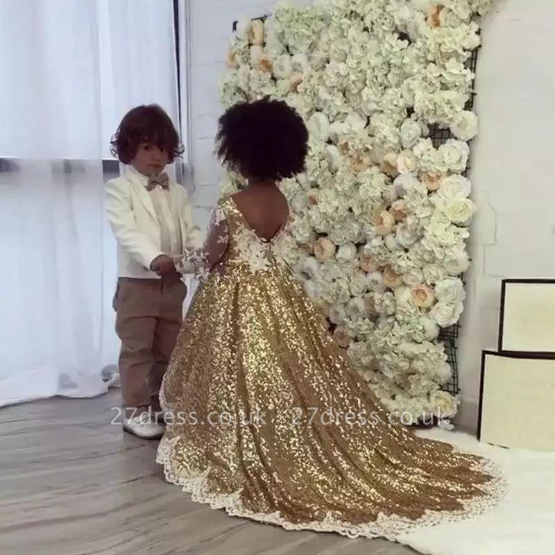 Gold Sequins Girl Applique Round Neck Court Train Pageant Dress UK