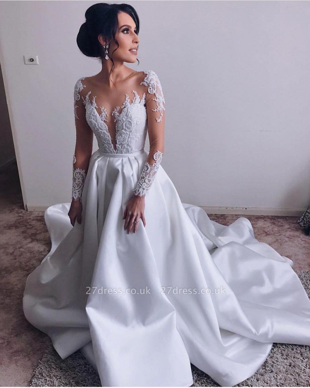 Elegant  V-Neck Long Sleeves A-Line Appliques Wedding Dress