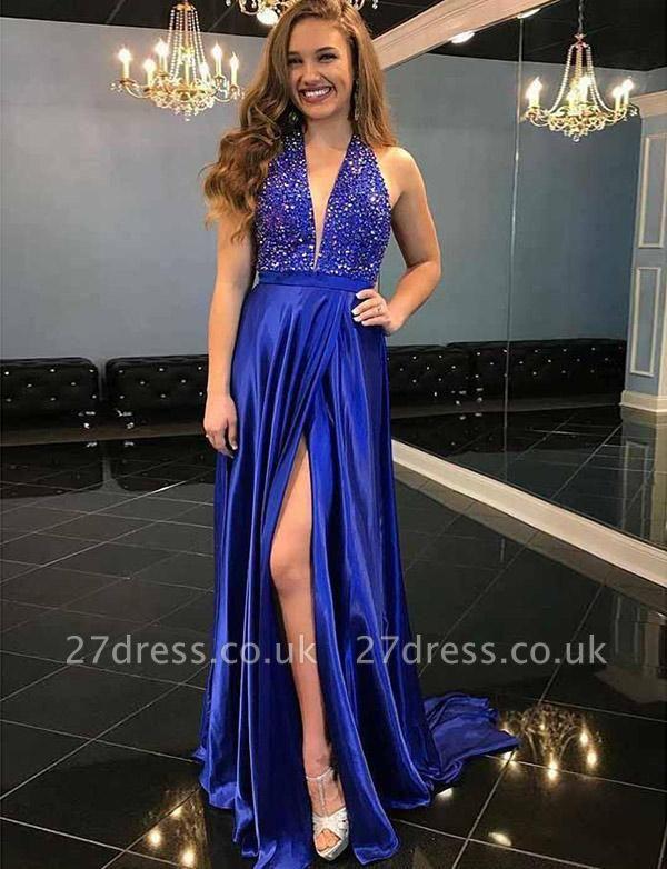 Modern A-Line Beading Split Front Sleeveless V-Neck Prom Dress UK UK