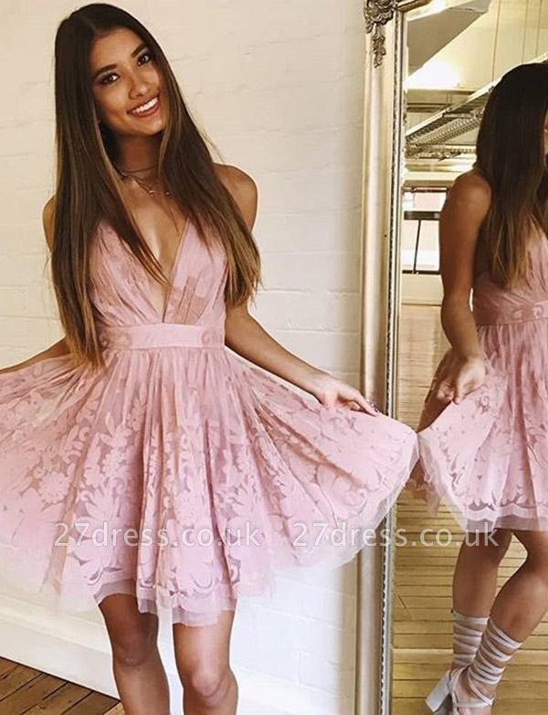 Glamourous Sleeveless A-Line Lace V-Neck Mini length Homecoming Dress UK