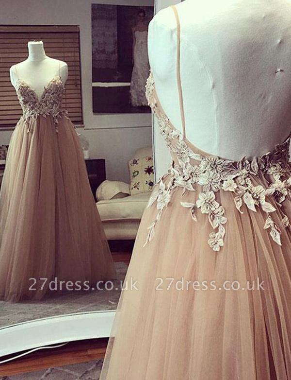 Modern Tulle Champagne Spaghetti Straps A-Line Applique Prom Dress UK UK