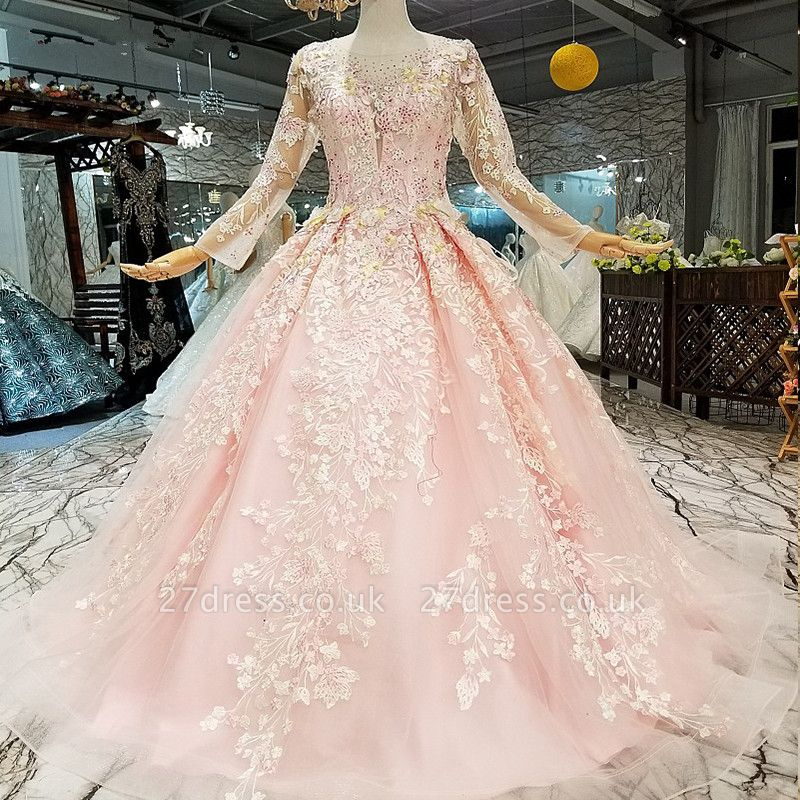 Organza Round Neck Long Sleeves Applique A-Line Court Train Prom Dress UK UK