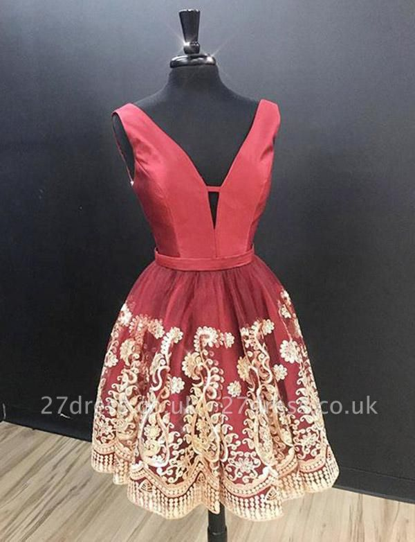 Glamourous Sleeveless A-Line Appliques V-Neck Mini length Homecoming Dress UK