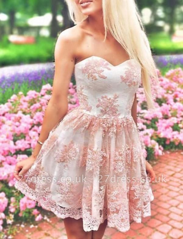 Sexy Appliques A-Line Lace Cute Sweetheart Mini length Homecoming Dress UK
