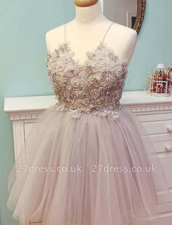 Stunning Spaghetti Straps Tulle A-Line Appliques Mini length Prom Dress UK UK