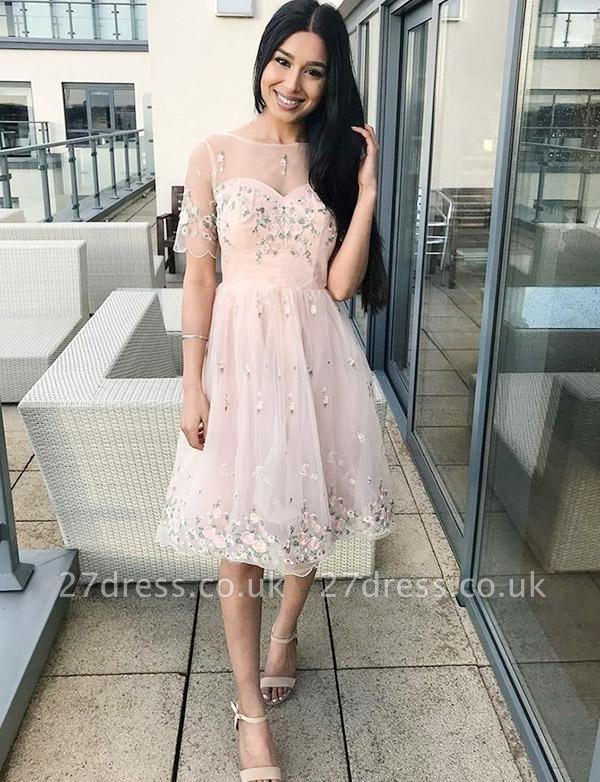 Stunning A-Line Appliques Short Sleeves Bateau Knee-Length Prom Dress UK UK