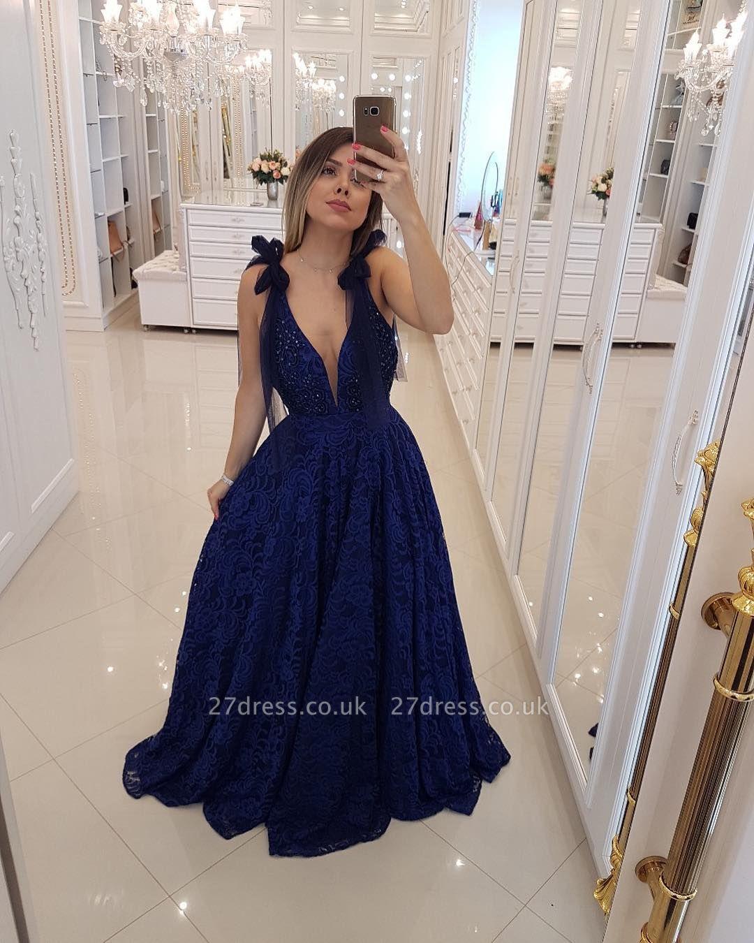Elegant Hot Deep V-Neck Sleeveless Tulle A-Line Prom Dress UK UK