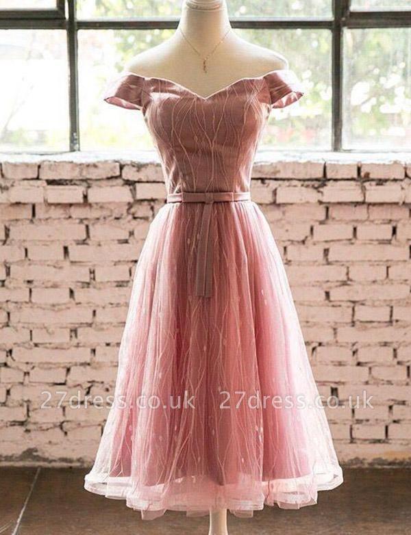 Trendy Short Sleeves A-Line Off-the-Shoulder Tea-Length Homecoming Dress UK