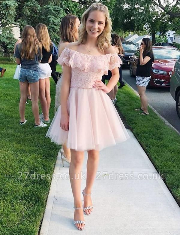 Trendy Tulle A-Line Lace Off-the-Shoulder Mini length Homecoming Dress UK