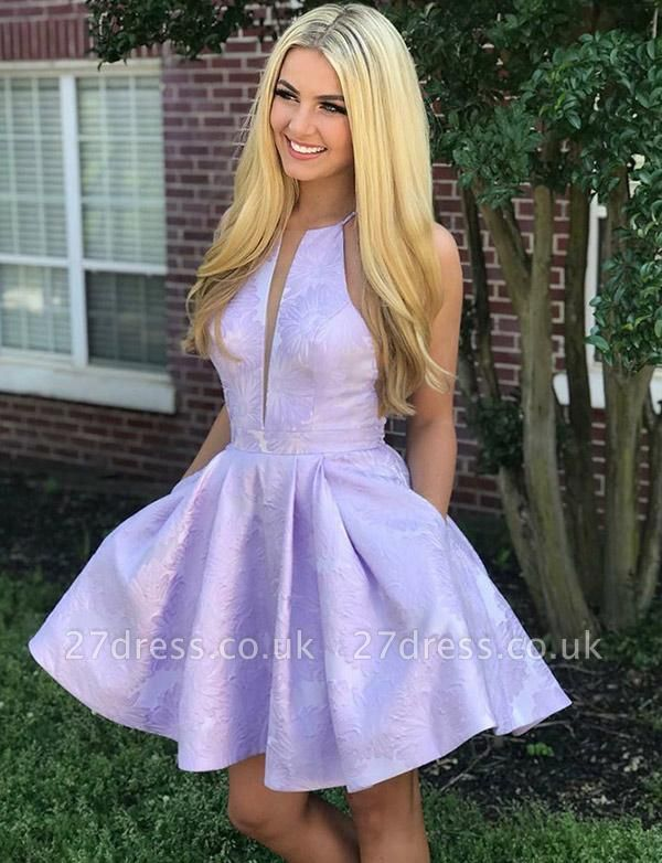 Stunning Sleeveless A-Line V-Neck Halter Short Prom Homecoming Dress UK