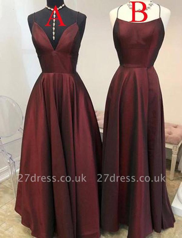 Sexy Burgundy A-Line Spaghetti Straps Sleeveless Long Prom Dress UK UK