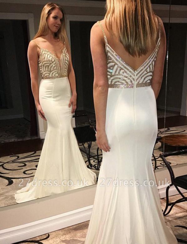 Luxury Sleeveless trumpt Spaghetti Straps V-Neck Sequins White Prom Dress UK UK