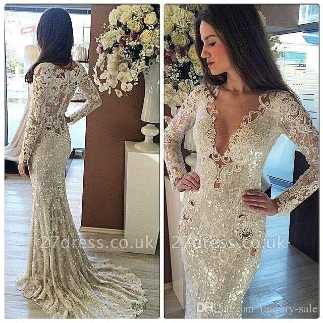 Elegant Hot V-Neck Long Sleeves Sequined Elegant Mermaid Appliques Prom Dress UK UK