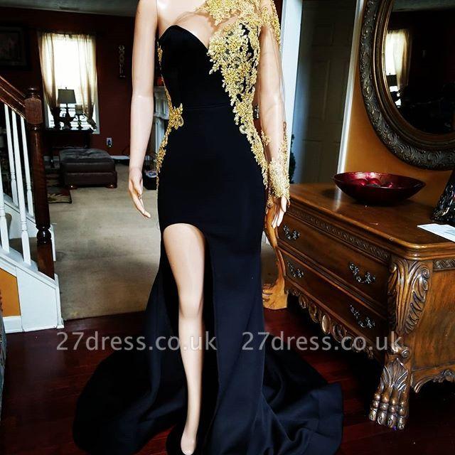 Black Mermaid Front-slit Appliqued Long Sleeve Prom Dress UKes UK