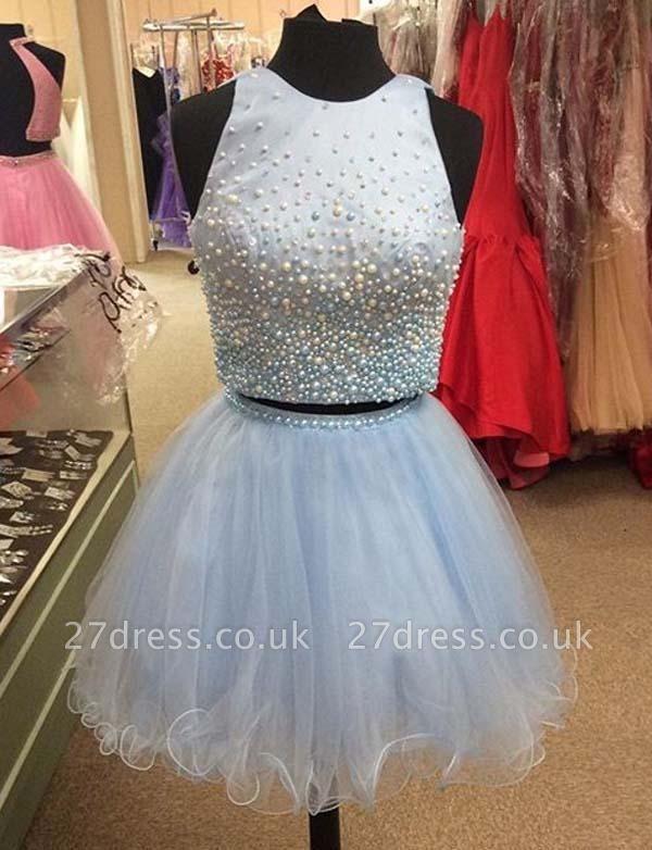 Two Piece A-Line Beading Jewel Tulle Sleeveless Mini Prom Dress UK UK