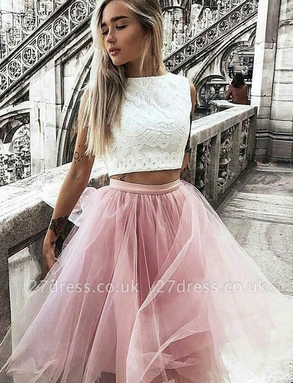 Crop top Sleeveless A-Line Lace Jewel Tulle Short Prom Homecoming Dress UK