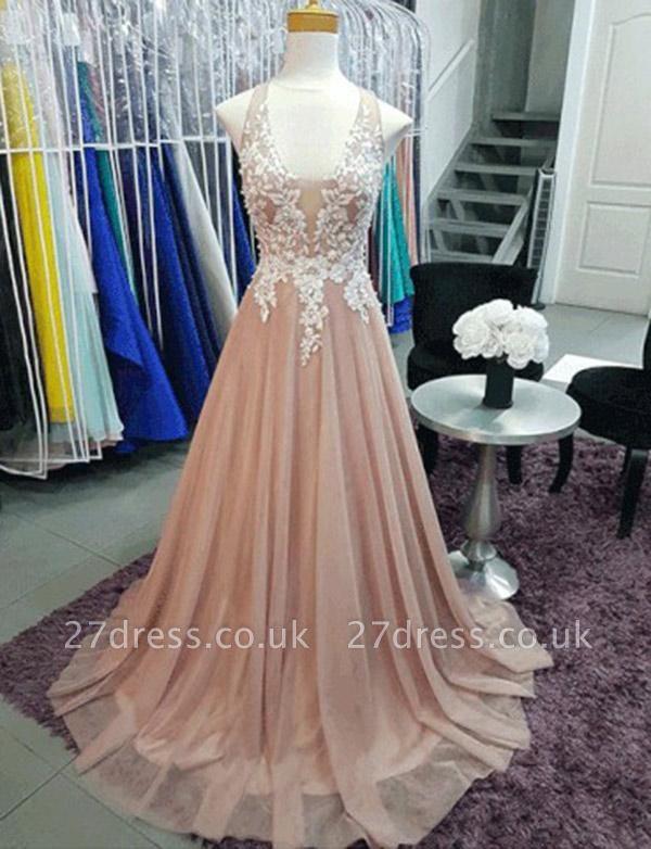 Charming A-Line Sleeveless V-Neck Appliques Sweep Train Prom Dress UK UK