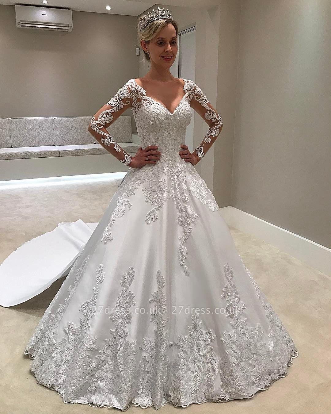Long Sleeves Satin  V-Neck Applique A-Line Wedding Dresses UK