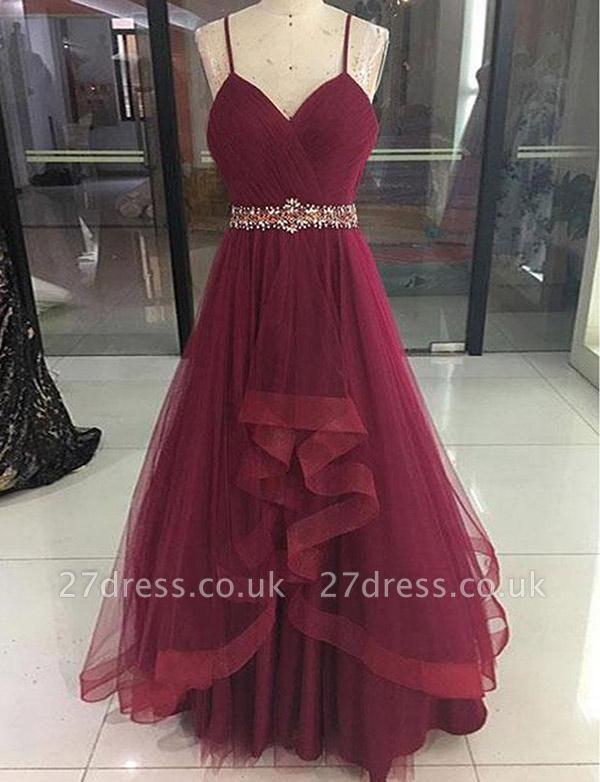 Modern Tulle A-Line Beading Spaghetti Straps Long Prom Dress UK UK