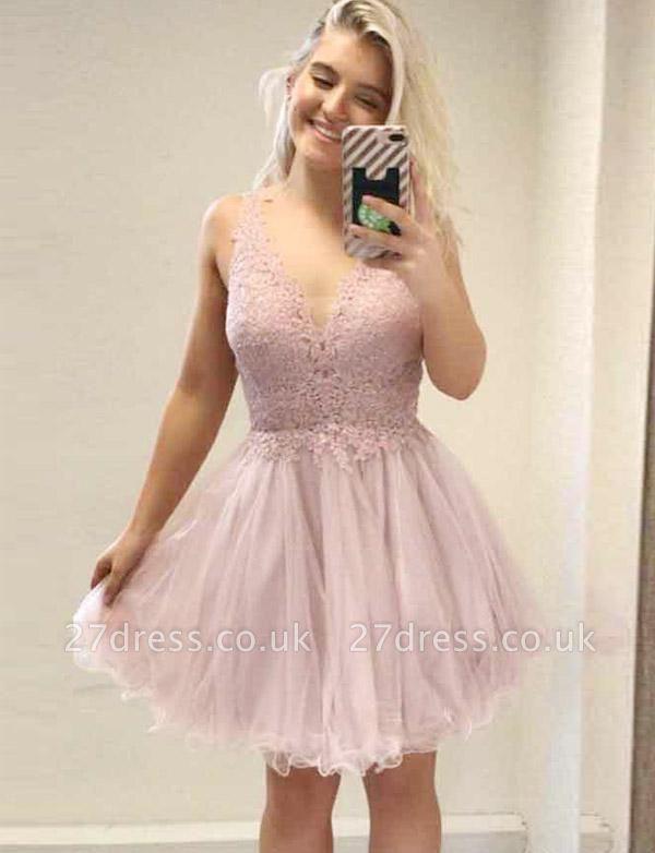 Trendy A-Line Appliques Sleeveless V-Neck Mini length Homecoming Dress UK