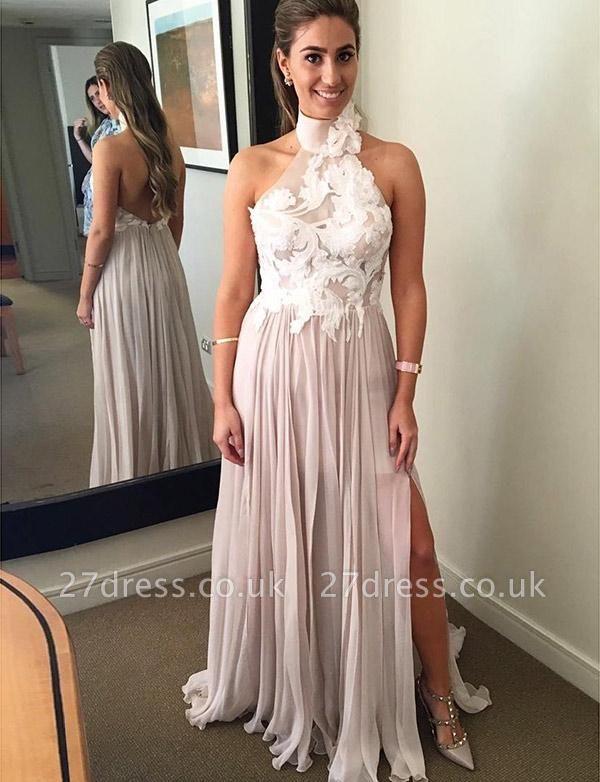 Different A-Line Split Front High Neck Appliques Sleeveless Long Prom Dress UK UK