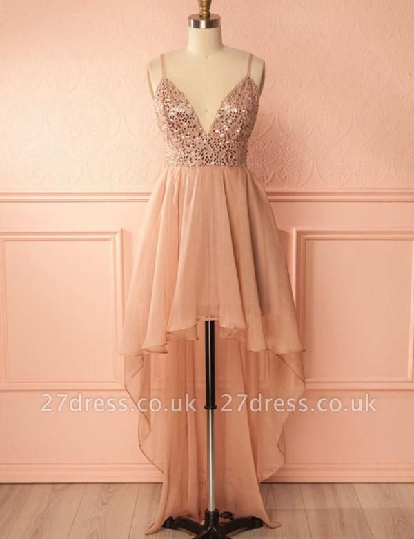 Glamourous A-Line Sequins Spaghetti Straps V-Neck Hi-lo Prom Homecoming Dress UK