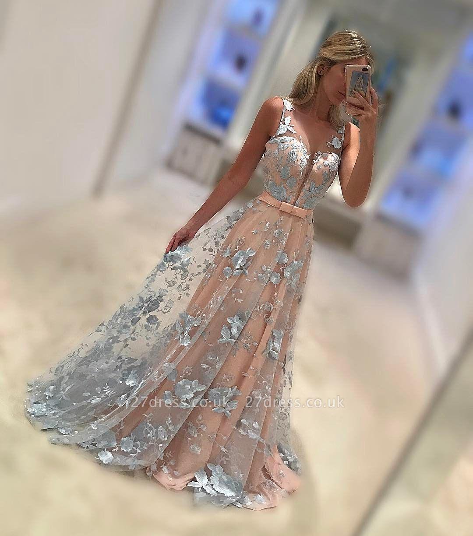 Sleeveless Elegant V-Neck Sash Applique Chiffon Sweep Train Elegant Evening Dress UKes UK