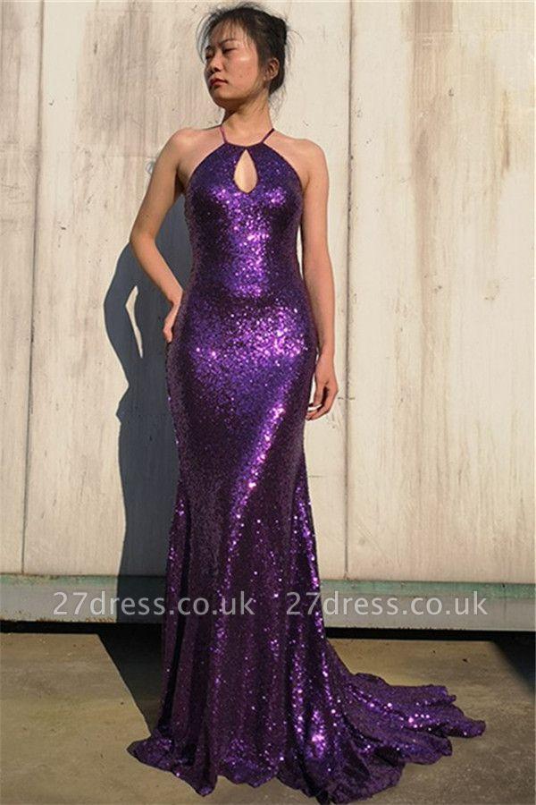 Gorgeous Purple Halter Sleeveless Elegant Mermaid Sweep Train Prom Dress UK UK