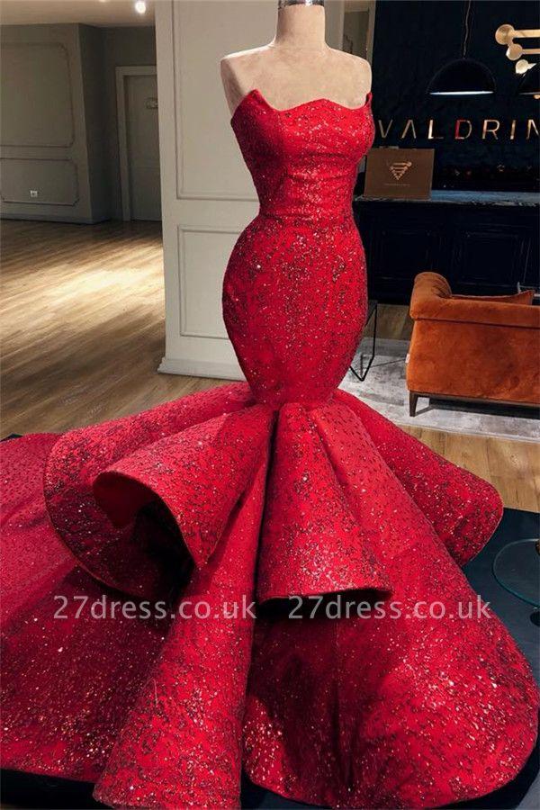 Sexy Elegant Mermaid Strapless Sleeveless Long Prom Dress UK