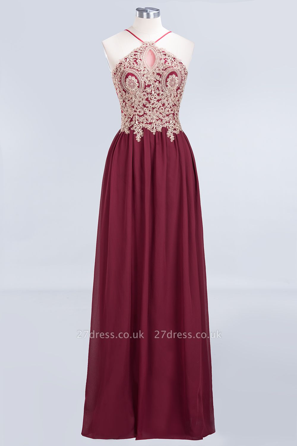 Sexy A-line Flowy Spaghetti-Straps Sleeveless Backless Floor-Length Bridesmaid Dress UK UK with Appliques