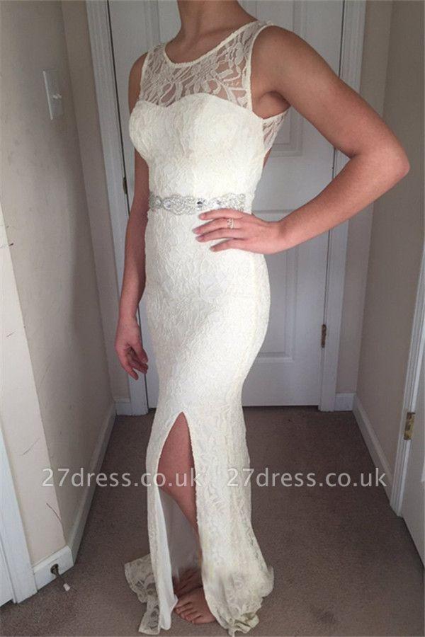 Stunning Straps Sleeveless Scoop Neck Front Slipt Prom Dress UK UK