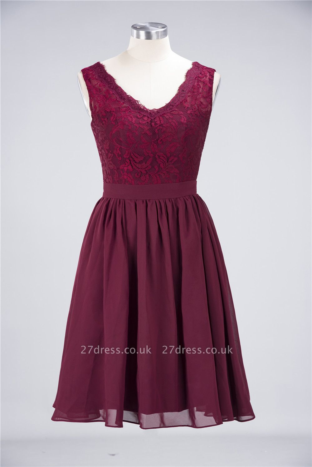 Sexy A-line Flowy Lace Alluring V-neck Sleeveless Short length Bridesmaid Dress UK UK with Ruffles