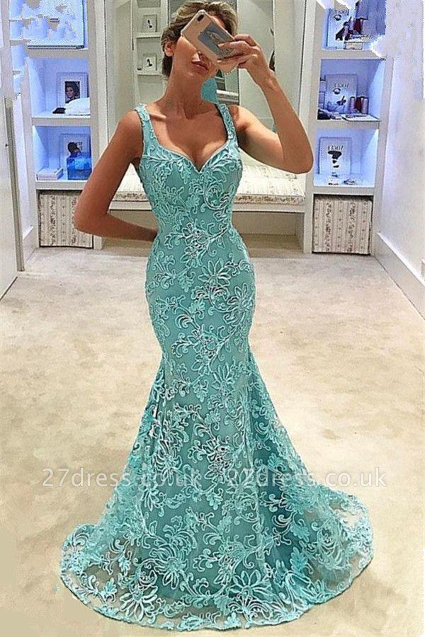 Elegant Mermaid Straps Appliques Sleeveless Long Prom Dress UK