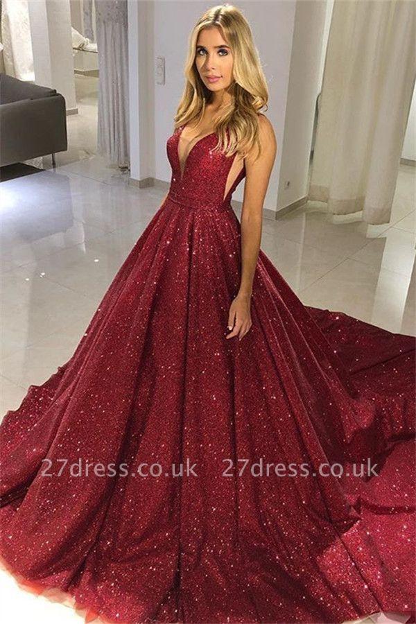 Sexy A-line Straps Sleeveless Alluring V-neck Long Prom Dress UK