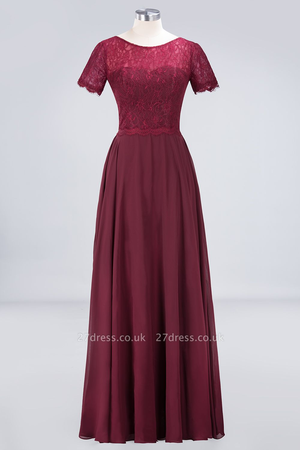 Sexy A-line Flowy Lace Round-Neck Short-Sleeves Floor-Length Bridesmaid Dress UK UK