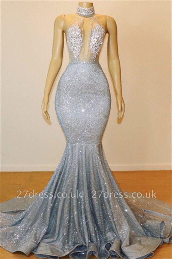 Elegant Hot Elegant Mermaid Halter Sleeveless Sweep Train Long Prom Dress UK UK