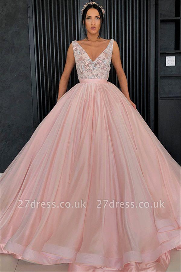 Amazing Appliques Alluring V-neck Sleeveless Prom Dress UK