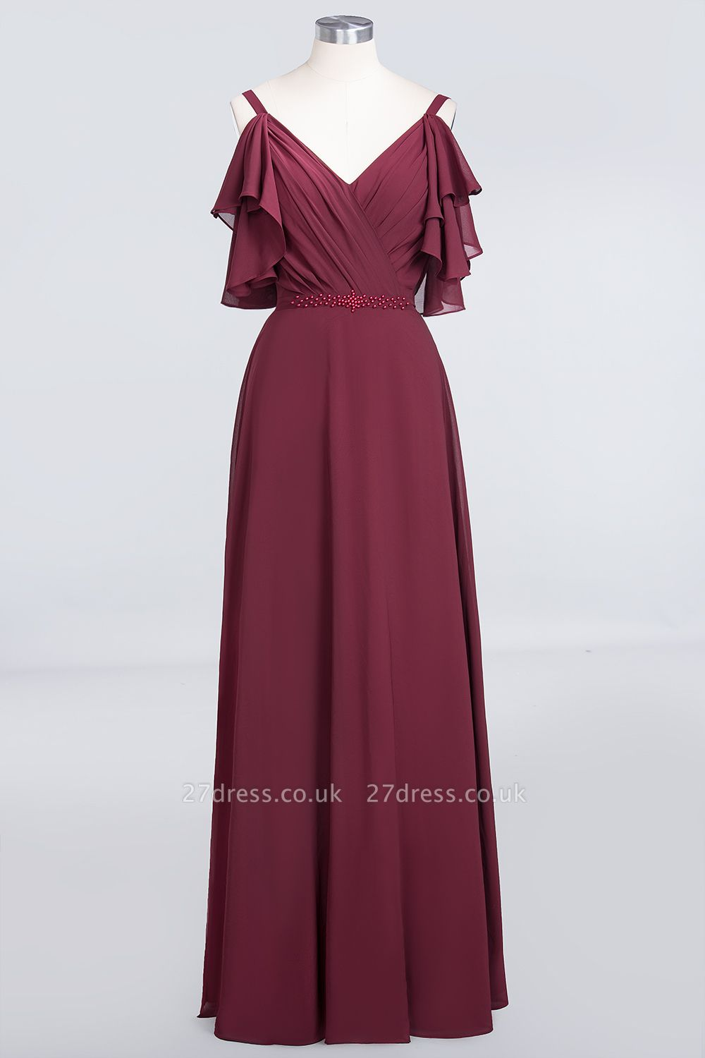 Sexy A-line Flowy Alluring V-neck Straps Sleeveless Ruffles Floor-Length Bridesmaid Dress UK UK with Pearls