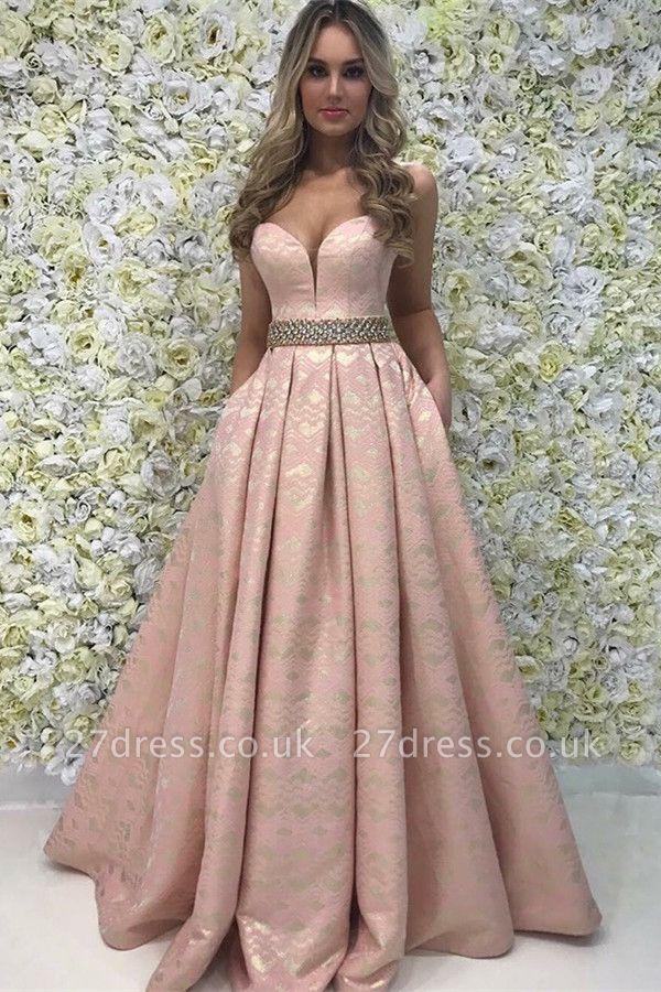Sexy A-Line Cute strapless Beading Sleeveless Sweep Train Prom Dress UK UK